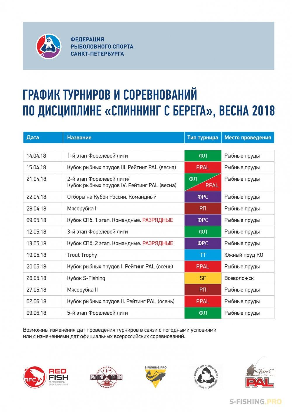 Мероприятия: График турниров и соревнований по дисциплине