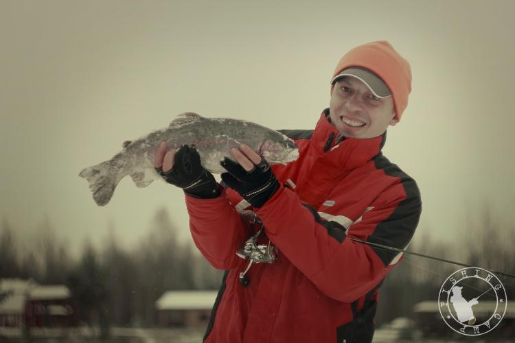 Мой первый опыт, в ловле прудовой форели!
